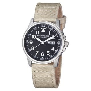Stuhrling Original Men's Quartz Aviator Canvas Strap Watch