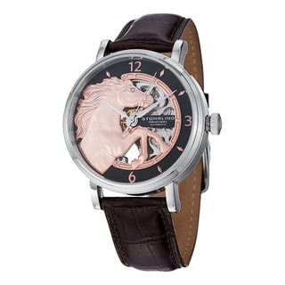 Stuhrling Original Men's Automatic Sir Barton Leather Strap Watch