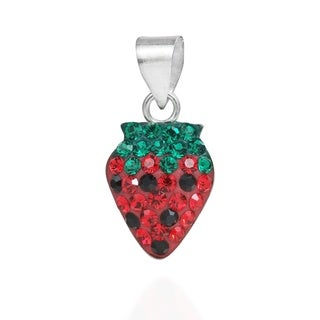 Plump Strawberry Cubic Zirconia Sterling Silver Pendant (Thailand)