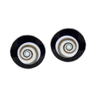 Round Red Swirl Shiva Shell .925 Silver Post Earrings (Thailand)