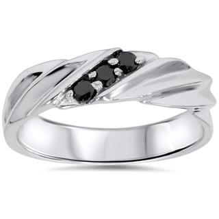 14K White Gold 1/5 CT TDW Men's Black Diamond Wedding Ring