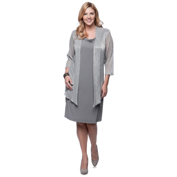 Connected Apparel Women's Plus-size Metallic Jacket/ Drape Neck Dress