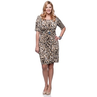 Connected Apparel Women's Plus Size Camel Dot Elbow-sleeve Dress