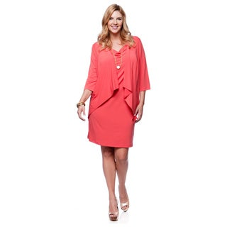 Connected Apparel Women's Plus Size Tangerine 2-piece Dress Set