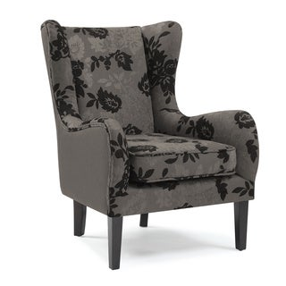Two-tone Floral Curved Wing Chair