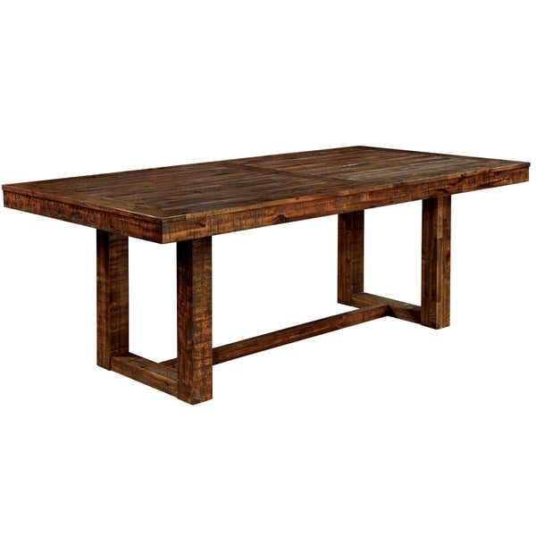 Furniture Of America Tobiath Rustic Dark Oak Dining Table 17093310