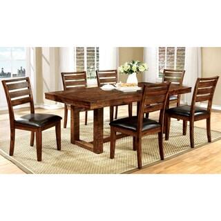 Furniture of America Tobiath Rustic 7-Piece Dark Oak Dining Set