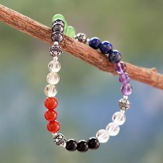 Handcrafted Multi-gemstone 'Colorful Mantra' Bracelet (India)