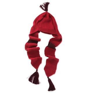 Alpaca 'Cozy Red' Hat with Scarf (Peru)