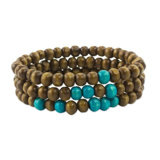 Set of 3 Men's Pinewood 'Brown Spirituality' Bracelets (Guatemala)