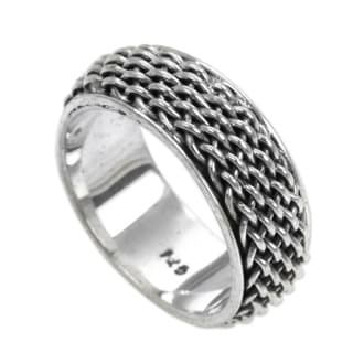 Handcrafted Sterling Silver 'Amlapura Weave' Ring (Indonesia)