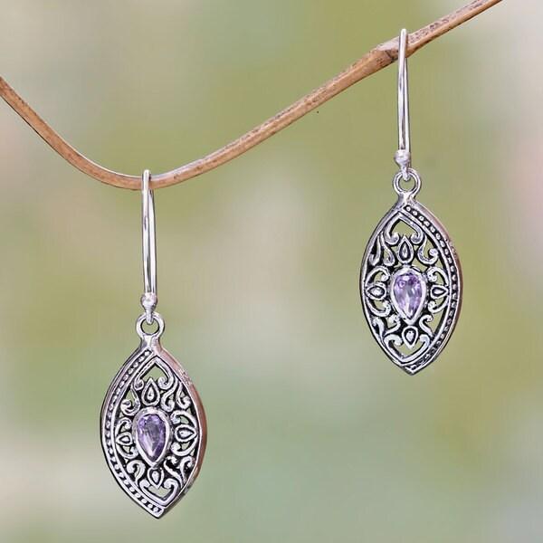 Sterling Silver 'Karma Shield' Amethyst Earrings (Indonesia)