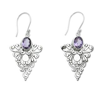 Sterling Silver 'Java Peacock' Amethyst Earrings (Indonesia)