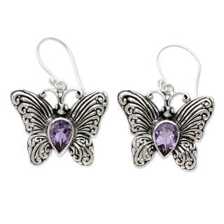 Sterling Silver 'Enchanted Butterfly' Amethyst Earrings (Indonesia)