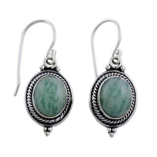 Handcrafted Sterling Silver 'Forest Charm' Amazonite Earrings (India)
