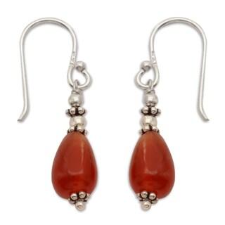 Handcrafted Sterling Silver 'Fire' Carnelian Earrings (India)