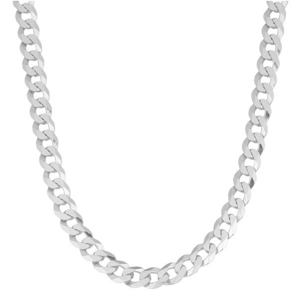 Fremada Sterling Silver 6mm High Polish Flat Curb Chain Necklace