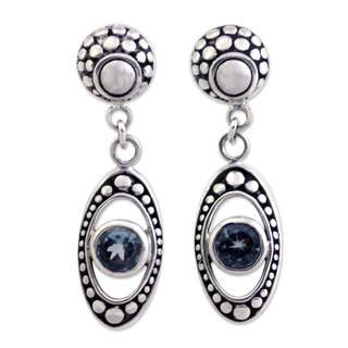 Sterling Silver 'Morning Dew' Blue Topaz Earrings (Indonesia)