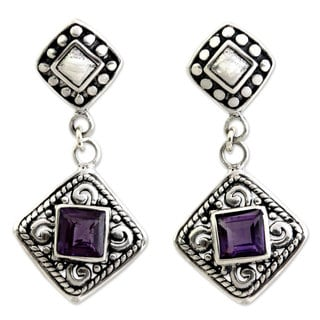 Sterling Silver 'Dream Garden' Amethyst Earrings (Indonesia)