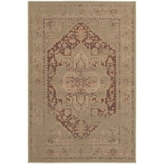 Antiqued Persian Tan/ Pink Rug (6'7 x 9'6)