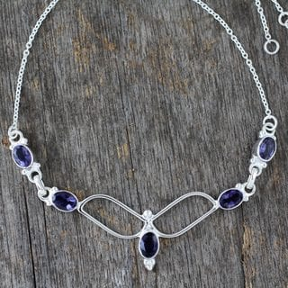 Handcrafted Sterling Silver 'Flight' Iolite Necklace (India)
