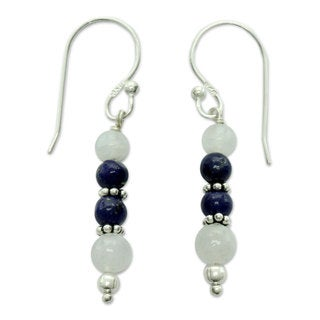 Silver 'Gujarat Skies' Moonstone Lapis Lazuli Earrings (India)