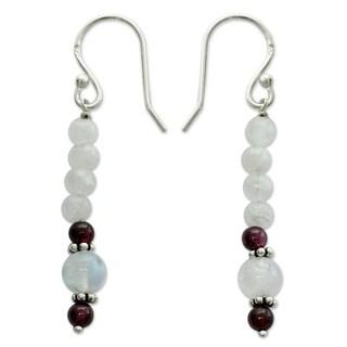Sterling Silver 'Rajasthan Dancer' Moonstone Garnet Earrings (India)
