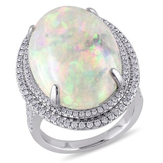 Miadora 14k White Gold Ethiopian Opal and 3/4ct TDW Diamond Ring (G-H, SI1-SI2)
