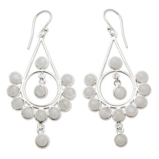 Handcrafted Sterling Silver 'Circles' Moonstone Earrings (India)