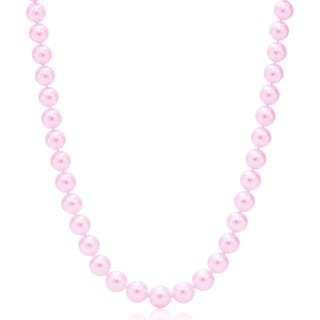 Suzy Levian 14k Yellow Gold Purple Freshwater Pearl Necklace (7-8 mm)