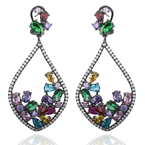 Suzy Levian Black Rhodium-plated Sterling Silver Multi-color Cubic Zirconia Cluster Drop Earrings