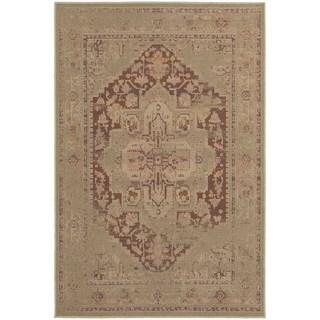 Antiqued Persian Tan/ Pink Rug (3'10 x 5'5)