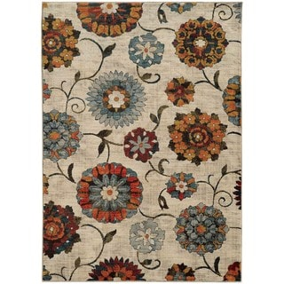 Largescale Floral Ivory/ Multi Rug (3'10 x 5'5)