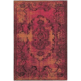 Traditional Distressed Overdyed Oriental Pink/ Yellow Rug (3'10 x 5'5)