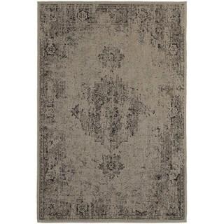 Overdyed Antiqued Heriz Grey/ Charcoal Rug (3'10 x 5'5)