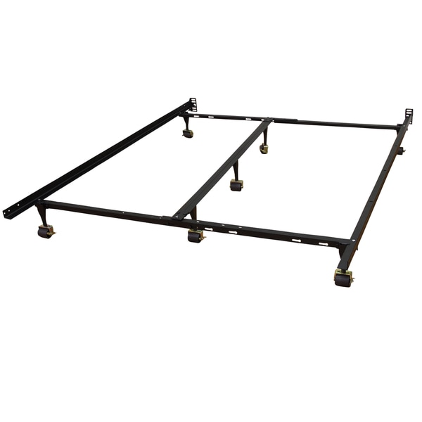 Renew and Revive Universal Heavy Duty Adjustable Metal Bed Frame with Double Rail Center Bar and 7-Locking Rug Rollers