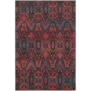 Overdyed Ikat Floral Brown/ Multi Rug (6'7 x 9'6)