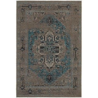 Traditional Distressed Overdyed Persian Grey/ Blue Rug (6'7 x 9'6)