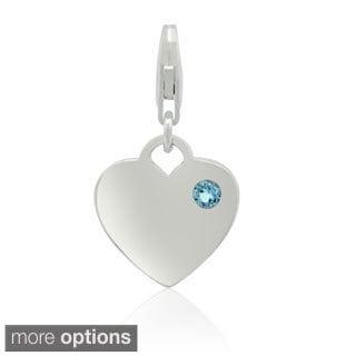 Gioelli Sterling Silver Gemstone Heart Charm