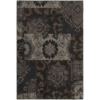 Distressed Overdyed Patchwork Charcoal/ Teal Rug (5'3 x 7'6)
