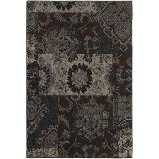 Distressed Overdyed Patchwork Charcoal/ Teal Rug (6'7 x 9'6)