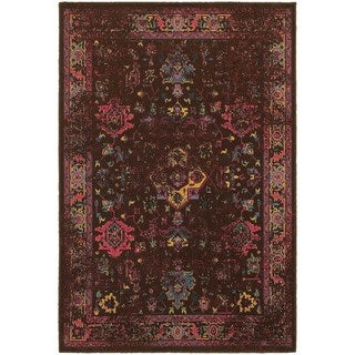 Traditional Distressed Overdyed Persian Brown/ Multi Rug (5'3 x 7'6)