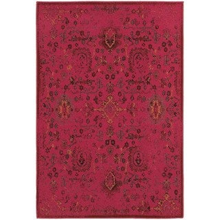 Traditional Distressed Overdyed Persian Pink/ Charcoal Rug (6'7 x 9'6)
