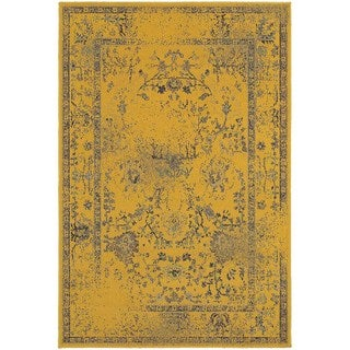 Traditional Distressed Overdyed Persian Gold/ Grey Rug (6'7 x 9'6)