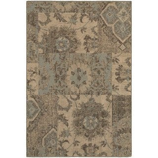 Distressed Patchwork Tan/ Blue Rug (5'3 x 7'6)