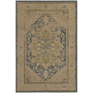 Antiqued Persian Tan/ Blue Rug (5'3 x 7'6)
