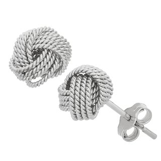 Gioelli Sterling Silver Roped Love Knot Stud Earrings