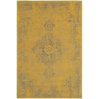 Traditional Distressed Overdyed Persian Yellow/ Grey Rug (6'7 x 9'6)