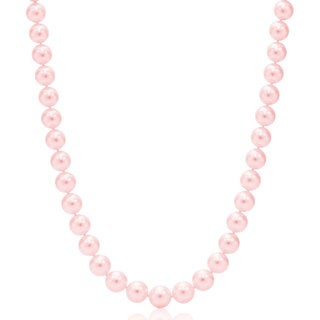 Suzy Levian 14k White Gold Pink Freshwater Pearl Necklace (8 mm)