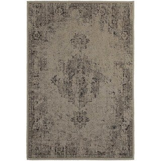 Overdyed Antiqued Heriz Grey/ Charcoal Rug (6'7 X 9'6)